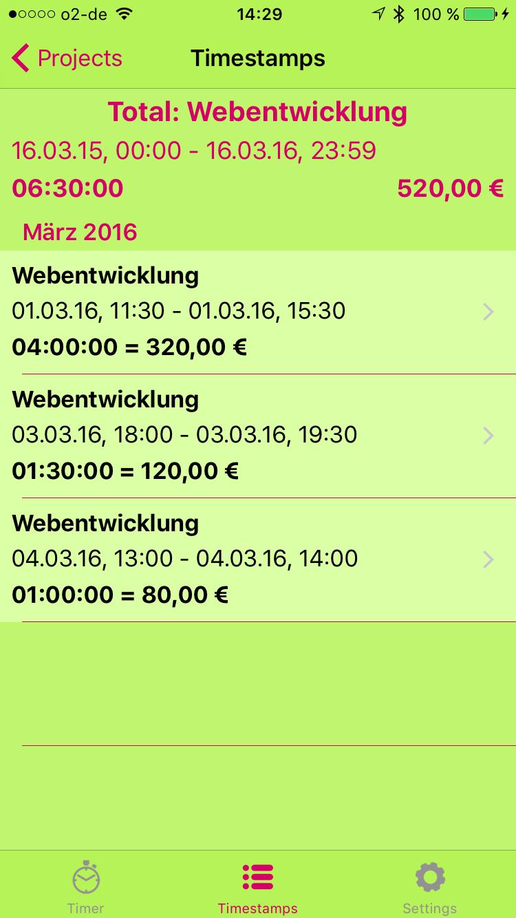 Timestamp-Pro App - Zeiten Ansicht